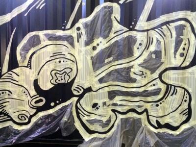 Роспись стен, брендирование, фреш-кафе имбирь, граффити на стене, граффити на заказ, трафарет на стене, паттерн на стене, Санкт-Петербург, Москва, vsevdecor