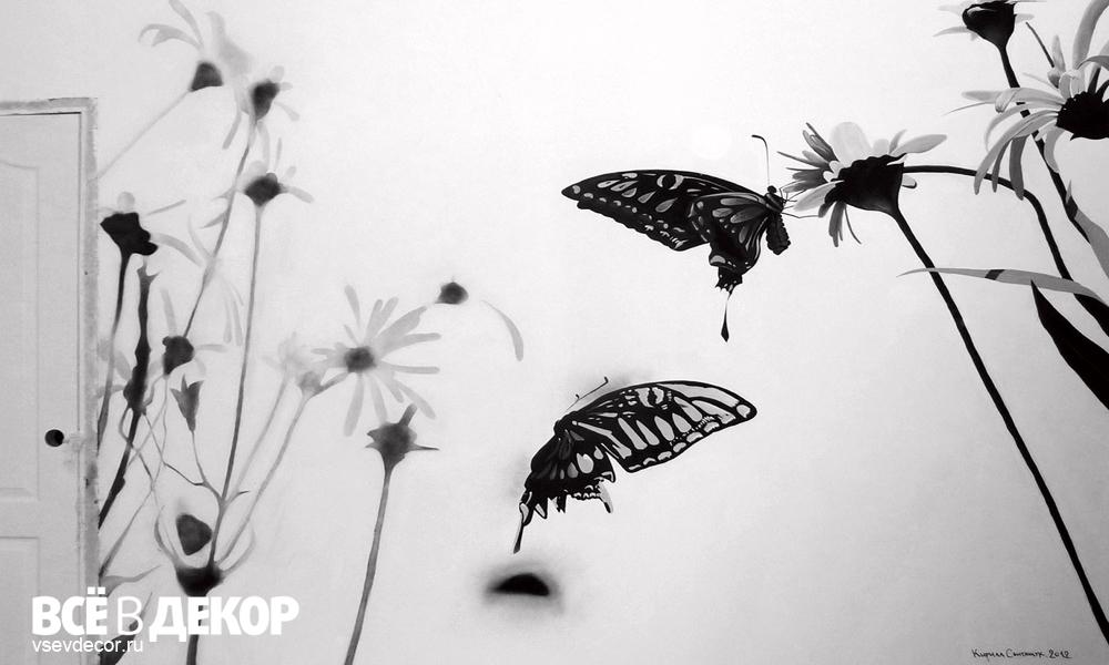 роспись стены цветы, бабочки, rospis-sten, брендирование, deti-grafika, граффити, граффити на стене, граффити на заказ, трафарет на стене, паттерн на стене, Санкт-Петербург, Москва, vsevdecor, всевдекор, цветы в интерьере, ромашки на стене