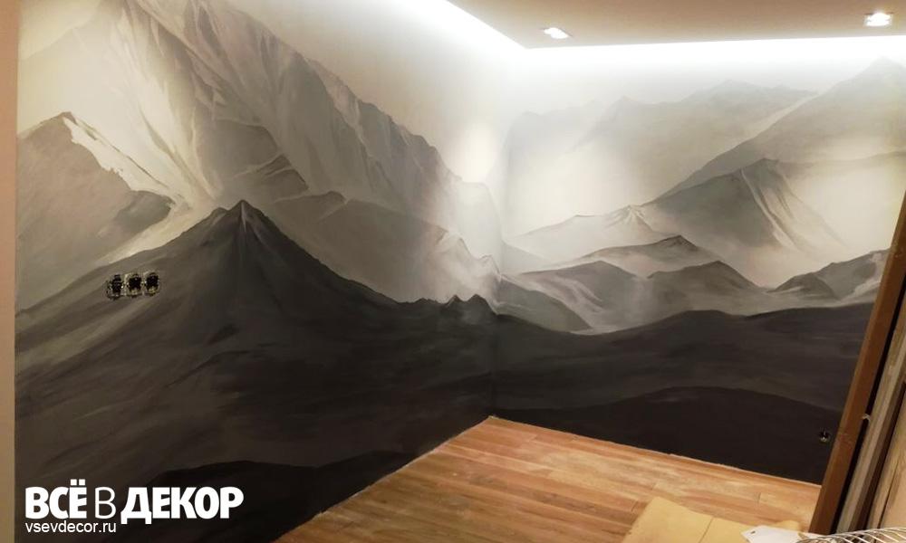 горы, роспись стены, мужской интерьер, роспись в квартире, художественная роспись стен, студия всёвдекор, vsevdecor, горы на стене, горы в интерьере, горы на стене рисунок, санкт-петербург, спб, москва