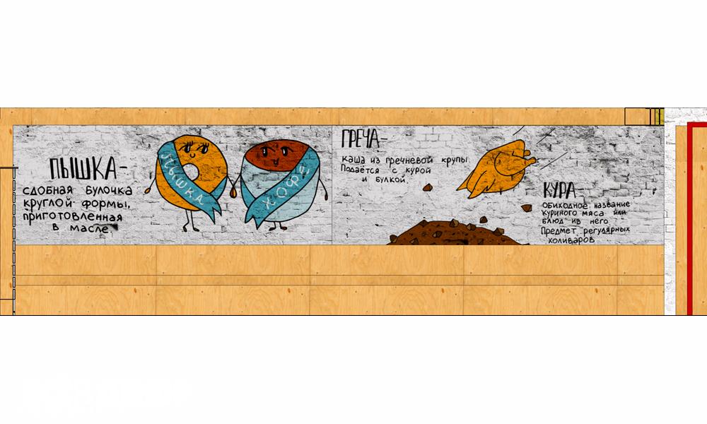 надин мандарин, граффити на кирпичной стене, central street hostel, роспись стены в хостеле, граффити, пышки на стене, кофе граффити, кура греча на стене, всевдекор, vsevdecor, все в декор, всё в декор, роспись стен в спб, роспись стен в петербурге, граффити спб, граффити на заказ, рисунок на стене на заказ спб