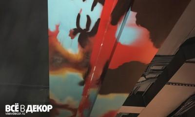 фактура ржавчины, процесс, интерьер кальянной, роспись стен, барная стойка, стимпанк, оформление кальянной, кальянная, граффити, живопись в интерьере, всевдекор, vsevdecor, свитящук кирилл, феромон, feromon group
