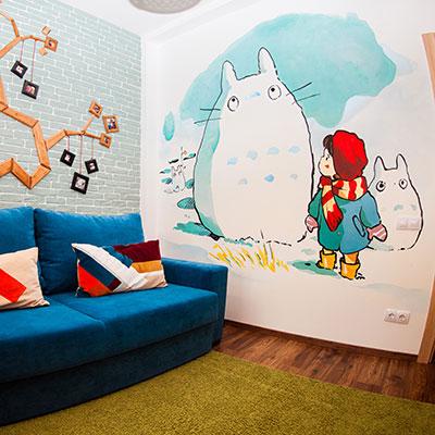 роспись стен в детской комнате, всевдекор, все в декор, vsevdecor, граффити, дети, тоторо граффити, тоторо роспись стен,детская комната, graffiti, роспись стен, спб, санкт петербург, москва, тоторо детская комната, тоторо рисунок, тоторо на стене, комната девочки, детский рисунок на стене, тоторо graffiti, totoro graffiti