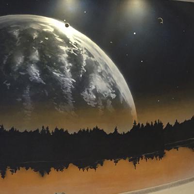 граффити, интерьер, земля, graffiti, роспись стен, спб, санкт петербург, москва, graffiti, комната, планета, космос, vsevdecor