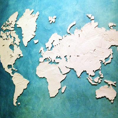 Барельеф, карта мира на стене, на заказ. Роспись стен, штукатурка, Санкт-Петербург. Москва, граффити