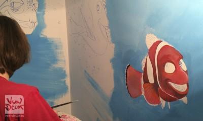 граффити, сердитые птички, angry birds, graffiti, роспись стен, спб, санкт петербург, москва, детский центр хлопушка купчино, детская комната, в поисках Дори, немо