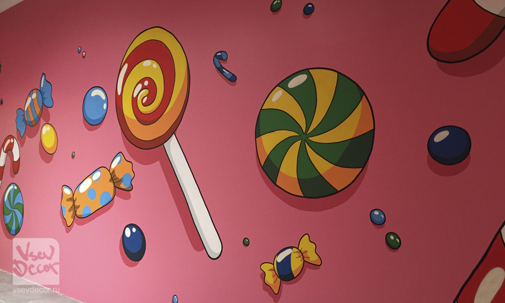vsevdecor, граффити, дети, candy, graffiti, роспись стен, спб, санкт петербург, москва, детский центр умпа лумпа детская комната, сладости, конфеты