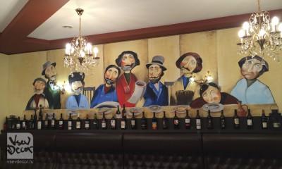 роспись стен, интерьер, грузинский ресторан, нико пиросмани, граффити, оформление стен, спб, петербург, москва