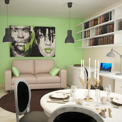 Дизайн интерьера квартиры-студии. Финские кварталы.
