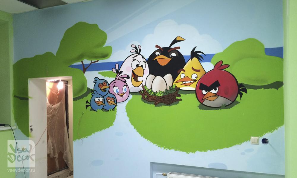 граффити, сердитые птички, angry birds, graffiti, роспись стен, спб, санкт петербург, москва, детский центр хлопушка купчино, детская комната