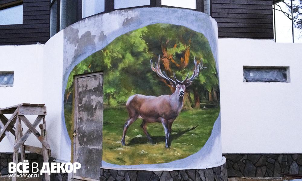 роспись фасада олень, роспись фасада дома, граффити на доме