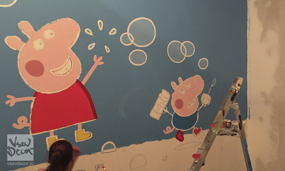 vsevdecor, граффити, дети, peppa граффити, peppa роспись стен, peppa детская комната, graffiti, роспись стен, спб, санкт петербург, москва, детский центр умпа лумпа детская комната, свинка пеппа, свинка пеппа на стене, peppa pig, peppa, peppa graffiti