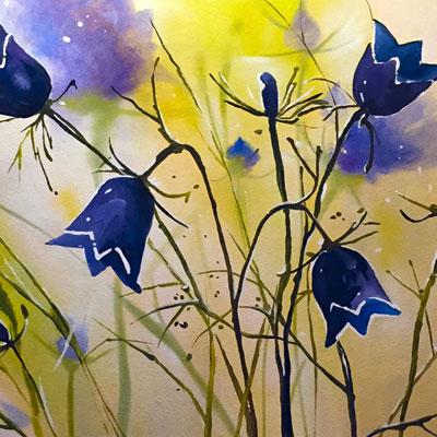 роспись стены цветы колокольчики акварель