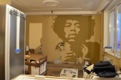 Роспись стен в интерьере, граффити на стене, графика, лицо, хендрикс, джимми, граффити на заказ, Санкт-Петербург, Москва