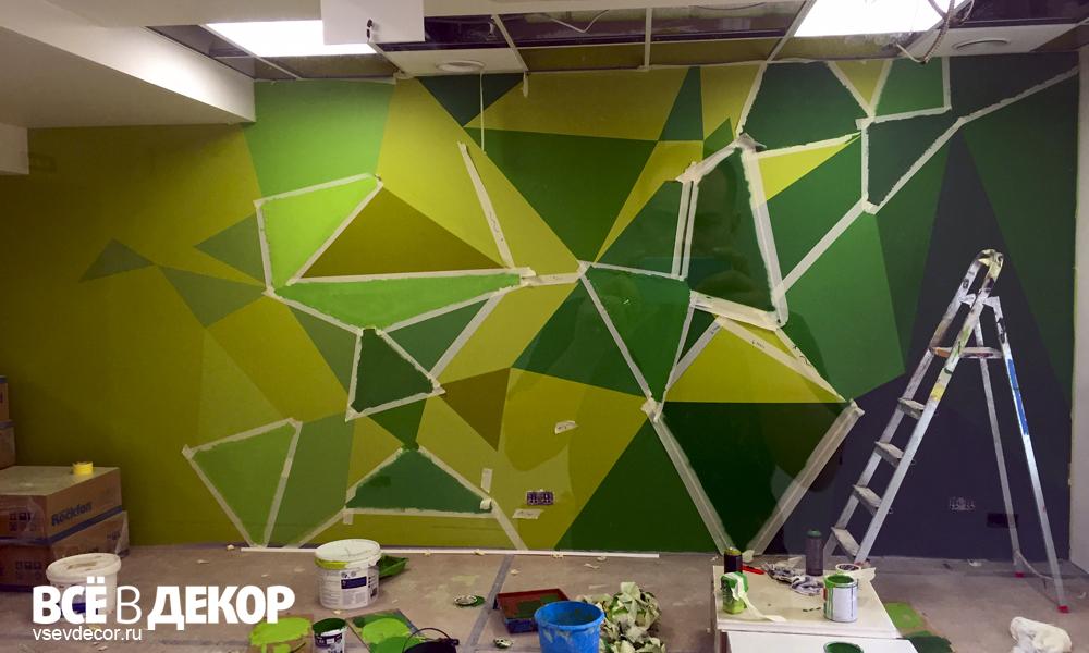 Роспись стен в офисе, Роспись стен, логотип на стене, логотип на стену в офис, вывеска, брендирование, граффити на стене, граффити на заказ, трафарет на стене, паттерн на стене, Санкт-Петербург, Москва, vsevdecor, всёвдекор
