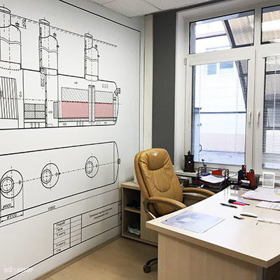необычный офис, стены в офисе чертеж, всевдекор, vsevdecor