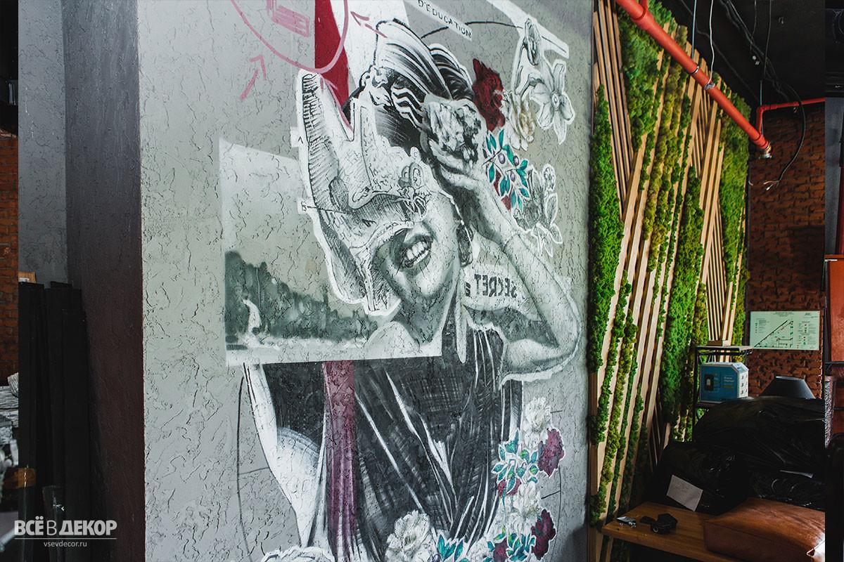 Роспись штукатуренной стены в интерьере ресторана, цветы на стене в ресторане, всёвдекор, vsevdecor, свитящук