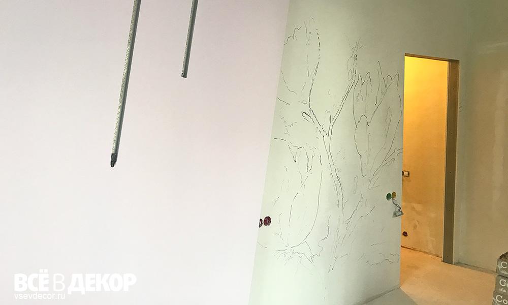 Тюльпаны акварель;Акварель роспись стен; роспись стен; настенная роспись; граффити; интерьерная роспись стен; всевдекор; vsevdecor;