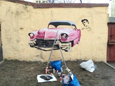 авто на стене, автомобиль на стене, граффити автомобиль, граффити, кадиллак, кадиллак элвиса, всёвдекор