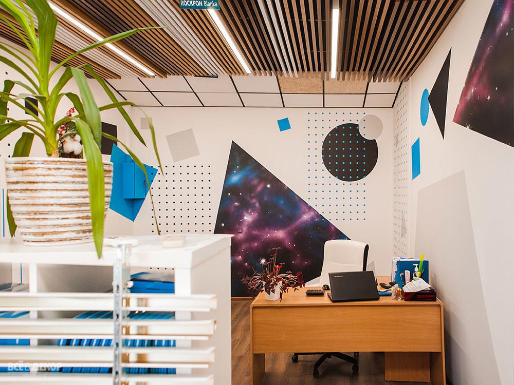 геометрический рисунок на стене, оформление стен офиса, необычный интерьер офиса, геометрические фигуры на стене роспись, геометрия на стенах, геометрия на стенах граффити, космос на стене