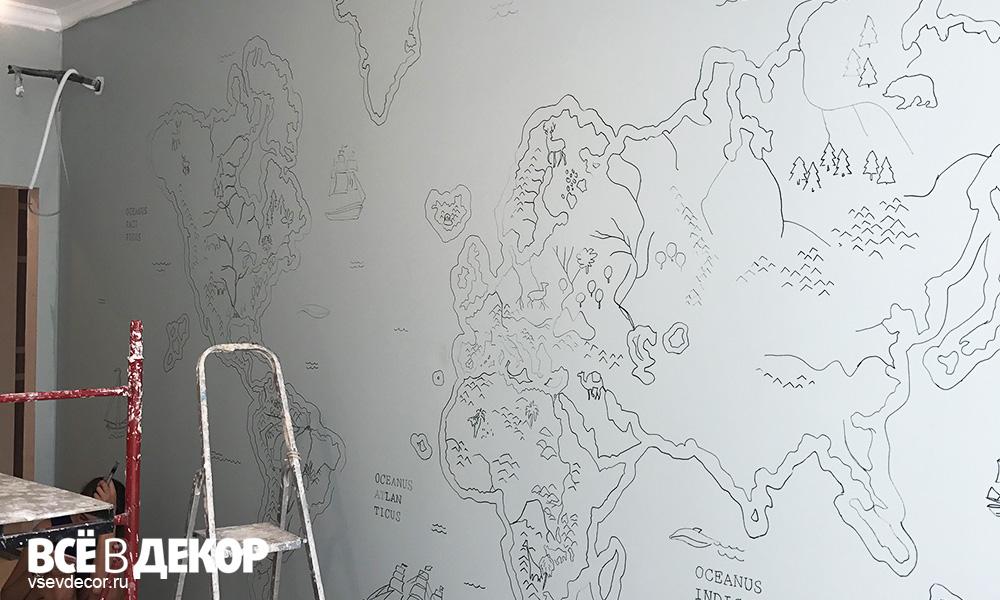 карта мира, стилизованная карта мира, старинная карта мира, Детская комната, карта мира на стене, карта мира в интерьере, карта мира в детской комнате, роспись стен карта мира, роспись стен карта, граффити карта, граффити карта мира, детский интерьер карта мира, роспись стен в спб, роспись стен в петербурге, Роспись стен в москве, всевдекор, все в декор, vsevdecor, свитящук