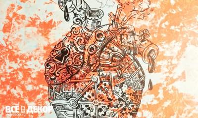 барная стойка, необычная барная стойка, штукатурка, фактурная штукатурка на мебели, графика, стимпанк, оформление кальянной, кальянная, граффити, сердце графика, всевдекор, vsevdecor, свитящук кирилл, feromon group