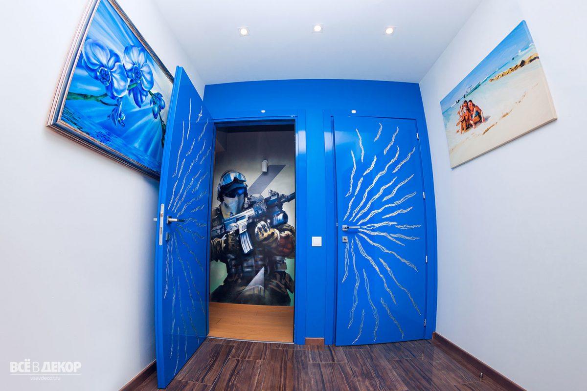 Оформление стен в детской, Роспись стены в детской комнате мальчика, Рисунок солдат на стене
