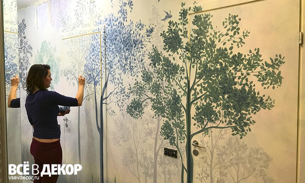Роспись стен в акварельной технике