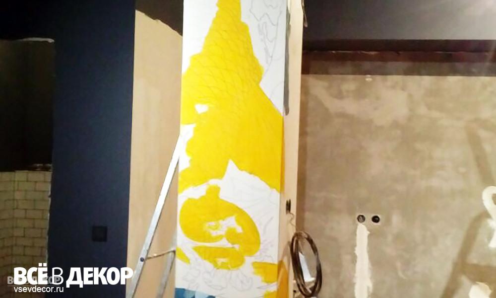 задекорировать колонну, задекорировать колонну в квартире, японские рисунки на стены, рисунки +в японском стиле на стене, роспись стен, роспись стены, роспись колонны, колонна в квартире, декор колонны в квартире, как оформить колонну в квартире, студия всёвдекор, всевдекор, vsevdecor